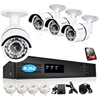 TMEZON Onvif NVR Security Camera System 4 Channel 1080P HD 4x 2.0MP Outdoor/indoor Day Night Vision IP Surveillance Camera Kit PoE P2P Smartphone Scan QR Code Quick View 1TB HDD