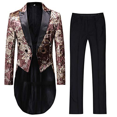 - Cloudstyle Mens Luxury Floral Print Tail Coat 2PC Slim Fit Formal Tuxedo Suit Jacket Pants