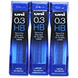 Strength & Deep & Smooth -Uni-ball Extra Fine Diamond Infused Pencil Leads, 0.3 Mm-hb-nano Dia 15 Leads X 3 Pack/total 45 Leads