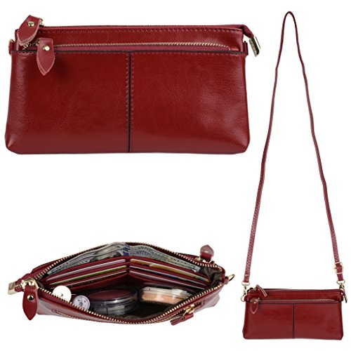 YALUXE Women's Large Capacity Genuine Leather Smartphone Wallet with Shoulder Strap Red Photo #6