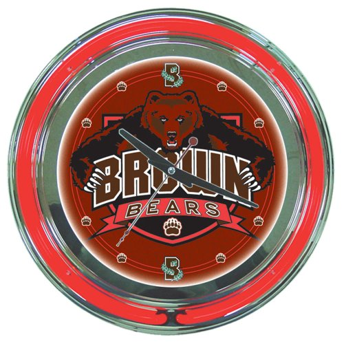 Bears Ncaa Wall Clock - NCAA Brown University Chrome Double Ring Neon Clock, 14