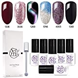 uv nails polish - Sexy Mix Gel Nail Polish Soak Off UV LED Nail Lamp - 6 Colors Tiny Bottles Nail Collection Rainbow Glitter Gel Cat Eyes Color Changing Chameleon and Black Nail Polish
