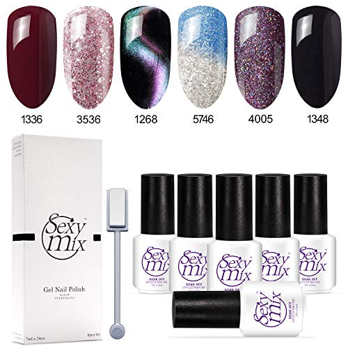 Sexy Mix Gel Nail Polish Soak Off UV LED Nail Lamp - 6 Colors Tiny Bottles Nail Collection Rainbow Glitter Gel Cat Eyes Color Changing Chameleon and Black Nail Polish