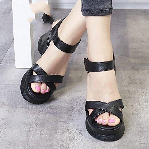 Xing Lin Sandalias De Mujer Nueva Moda De Verano De Cuero Sandalias De Mujeres Zapato Abierto Confort Informal De Tacón Alto Zapatos De Mujer black
