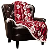 "Chanasya Super Soft Fleece Sherpa Holiday Throw Blanket - Luxurious Snuggly Cozy Warm Hypoallergenic Vibrant Burgundy Red and White for Sofa Couch Bed (50"" x 65"")- Machine Washable"