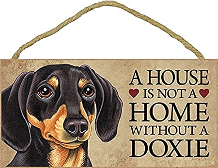 House Not a Home Doxie Dachshund Dog Wood Sign with Rope Hanger Decor 10 x 5