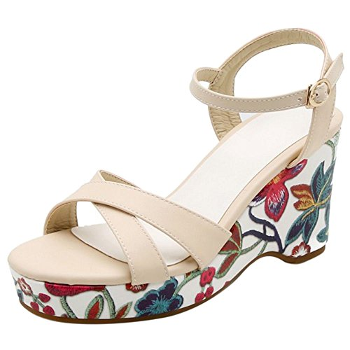 Coolcept 63 correa de Beige cuñas tobillo sandalias moda mujer FZBqFr