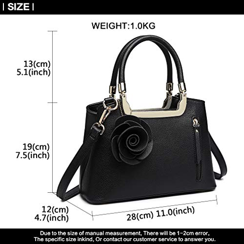 Trend Bag Lulu Miss Black Flower Shoulder Top Handle Structured Leather Women Bag Charm Elegant Pu Bag Crossbody Handbag Small 1dX0AfXrW