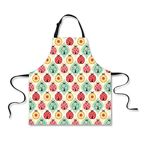 - iPrint Cooking Apron,Kids,Ladybugs Cartoon Pattern with Retro Polka Dots Daisy Blossoms and Little Hearts Love Decorative,Multicolor,3D Print Apron.29.5