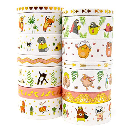 Washi Tape Set, Cute Animals and Gold Foil | for Journals, Planners and Crafts | 14 Rolls of Decorative Pattern Masking Tape | Perfect Designs for Kids, Girls and Boys | Standard Plus Skinny Size