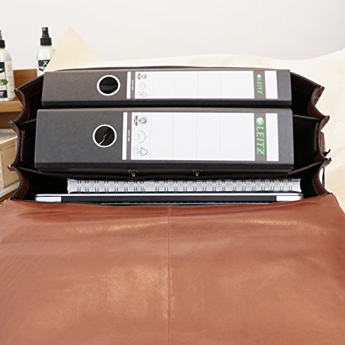 """BACCINI Aktentasche LUCA - Laptoptasche XL fit für 15.4"""" mit Extra-Abtrennung- Businesstasche mit Schultergurt - echt Leder hellbraun-cognac"""