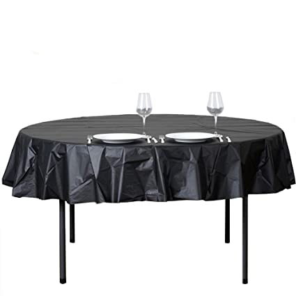 Amazon Com 12 Pack Round Table Cloth 84 Inch Plastic Table Cover