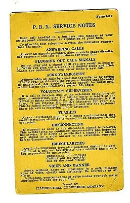 Illinois Bell (Illinois Bell Telephone Company Switchboard P B X Service Notes Card)
