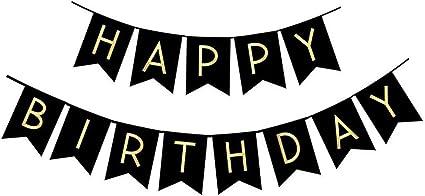 Fecedy Banderín Y Cartel De Feliz Cumpleaños Negro Con Letras Doradas Y Brillantes Suministros Para Fiestas Health Personal Care
