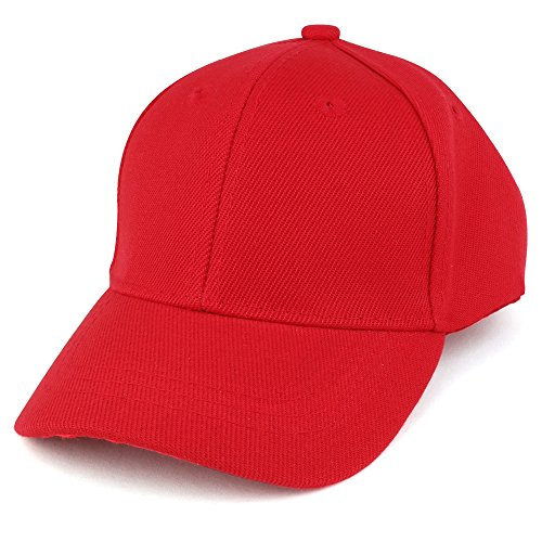 Trendy Apparel Shop Plain Infants Size Structured Adjustable Baseball Cap - RED ()