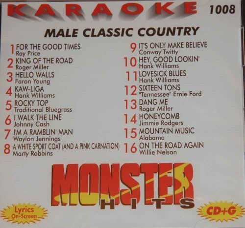 Monster Hits Karaoke Vol 1008 - Male Classic Country by Ray Price, Roger Miller, Hank Williams, Faron Young, Johnny Cash, Marty Robbins, (0100-01-01? ()