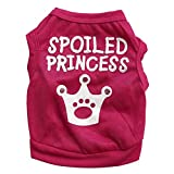 PanDaDa Pets Small Dogs Cats Crown Pattern Princess Vest T-Shirt Summer Rose S
