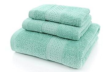 Juego de tres toallas de colores lisos de Basion, toalla de mano de algodón traje de ...