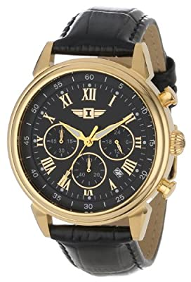 Invicta Men's 90242-003 Invicta I 18k Gold-Plated Stainless Steel Watch with Black Leather Band from Invicta