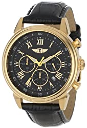 I By Invicta Men's 90242-003 18k Gold-Plated Stainless Steel Watch with Black Leather Band