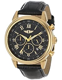 Men's 90242-003 Invicta I 18k Gold-Plated Stainless Steel Watch with Black Leather Band