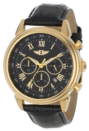 Invicta Mens 90242-003 Invicta I 18k Gold-Plated Stainless Steel Watch with Black Leather Band