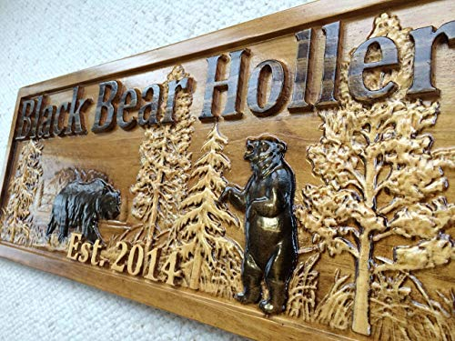 - Personalized Wood Sign Custom Carved Cabin Gift Man Cave Wedding Family Last Name Camp Lake House Décor Woods Black Bear Plaque Last Name Established Sign Custom Wood Sign 3D Camper Sign