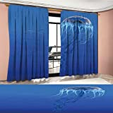 PriceTextile Jellyfish Room Darkening Wide Curtains Blue Spotted Jelly Fish Aquarium Life Marine Animals Ocean Predator in the Deep Water Customized Curtains Blue