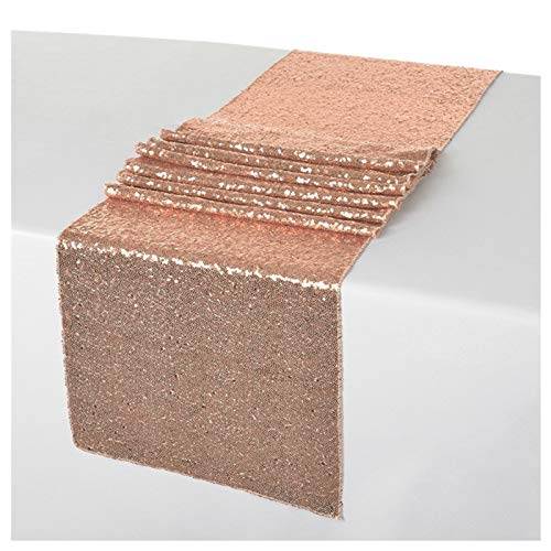 ShinyBeauty 12x108-Inch Sequin Table Runner Rose Gold 5 ()