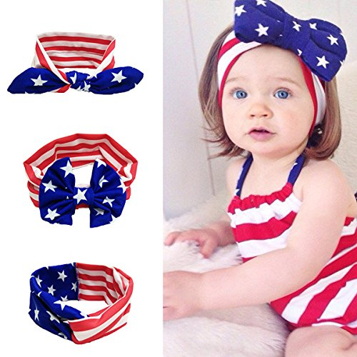 American Bunny - American US Flag Bandana Bunny Ears Headband Sets - Show Your American Pride - USA Turban Head Wrap Bowknot For Men Women Baby 3 Pack