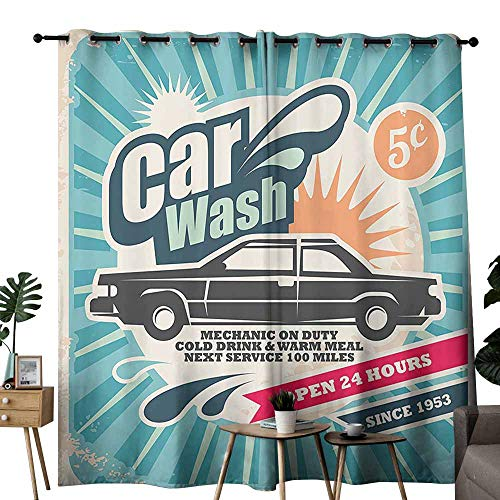 Homrkey Decorative Curtains for Living Room 1950s Decor Retro Car Wash Auto Service Repair Poster Style Art in Vintage Color Classic Design Print Multi Light Blocking Drapes with Liner W108 xL84 1950's Classic Pay Phone