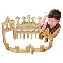 ECR4Kids Solid Hardwood Building Block Set, 75-Piece, Natural