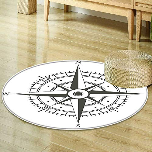 Round Rug Kid Carpet Compass Decor Collection Wind Rose Old Fashion Navigational Equipments Orienteering Illustration Print Gray White Home Decor Foor Carpe R-24