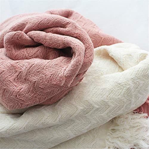 KNT&BLAKTS Pink 100% Cotton Summer Gauze Knitted Blanket 3D Plaid Tassel Bed Sofa Sofa Blanket 50'' X 60'' Milky White 127 x 152CM