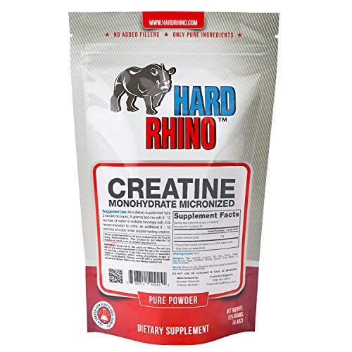 Hard Rhino Creatine Monohydrate Micronized Powder, 125 Grams (4.4 Oz), Unflavored, Lab-Tested, Scoop Included