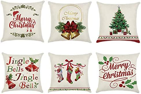Wtisan Christmas Decor Throw Pillows for Home Decorations with Jingle  Bells,Christmas Tree,Xmas Stocking Vintage for Christmas Decorative Gifts  18x18 ...