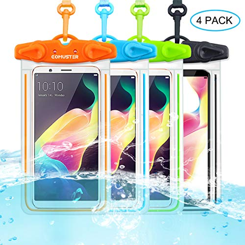 COMUSTER Universal Waterproof Case, 4 Pack IPX8 Underwater Clear Phone Pouch Dry Case Compatible with iPhone 11 Pro Xs Max XR X 8 8P Galaxy Pixel up to 6.5, Dry Bag for Beach Kayaking Travel or Bath
