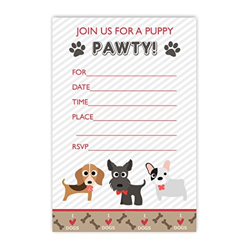 20 Puppy Paw-ty Invitations Dog Party Invites with Envelopes