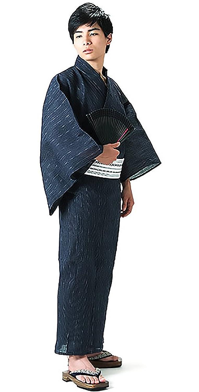 [ 京都きもの町 ] 男性 綿麻浴衣2点セット「紺色細縞浴衣×白色献上柄角帯」 B0744G6Y3R S