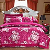 YiXinZhaiPei Floral Cotton 4 Piece Duvet Cover Sets , queen