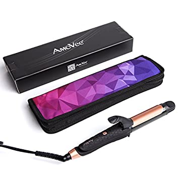 AmoVee 2 in 1 Travel Flat Iron Curling Iron Mini Hair Straightener with Black Titanium Coated, Dual Voltage, 1 Inch, Carry Bag Included, Black