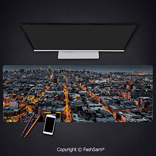 Desk Large Mat Mouse Pads Avenues Converging Towards Midtown in New York America Architecture Aerial Keyboard Pad for -