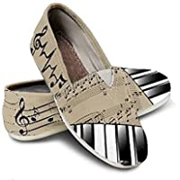 Custom Piano Themed Shoes, Toms Style Casual Slip-On Shoes for Girls & Women