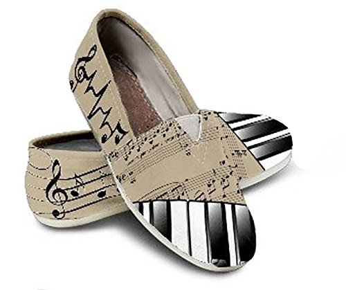 Custom Piano Themed Shoes, Toms Style Casual Slip-On Shoes for Girls & Women (Piano Custom)