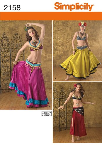 Middle Costume Eastern Girl (SIMPLICITY 2158 ~ BELLY DANCING MIDDLE EASTERN, HAREM GIRL COSTUME / OUTFIT (MISSES SIZE)