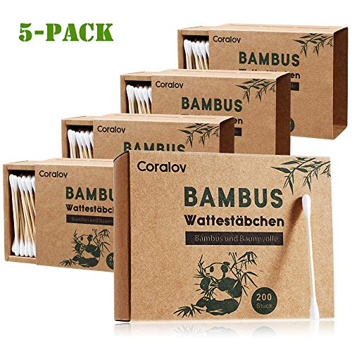 Bamboo Cotton Swab 1000PCS Double Cotton Buds Wooden Cotton Bud Craft Paper Packaging Recyclable and Biodegradable Cotton Buds ()