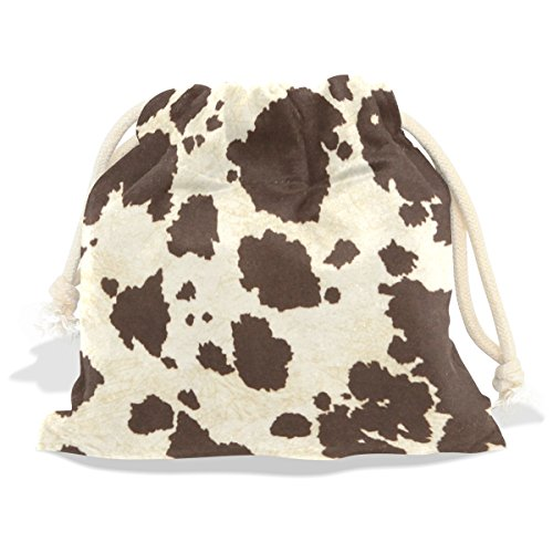 LEISISI Big Cow Fur Print Pattern Durable drawstring tote bags Fashion gift bags 12.6x17 inch (Cow Print Luggage)