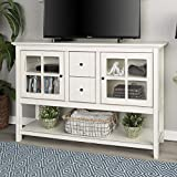 WE Furniture Rustic Farmhouse Wood Buffet Storage Cabinet Living Room, 52 Inch, White