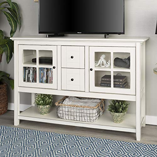 WE Furniture Rustic Farmhouse Wood Buffet Storage Cabinet Living Room, 52 Inch, White (Table For Tv Glass)
