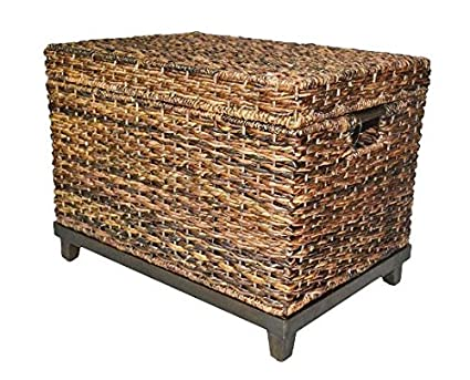Beau Brown Wicker Storage Trunk / Coffee Table By Threshold